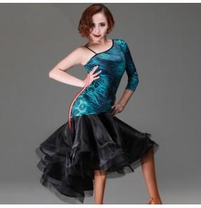 Women's turquoise leopard inclined one  shoulder irregular ruffles hem latin dance dress