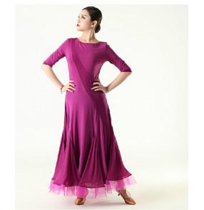 Women's turtle neck long sleeves modern ballroom dancing dress fuchsia
