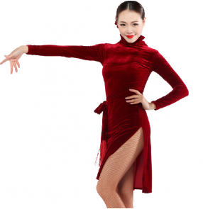 Women's turtle neck velvet long sleeves latin dance dress