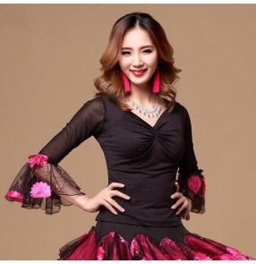 Women's v neck emboridery flower sleeves cuff latin ballroom dance top blouse