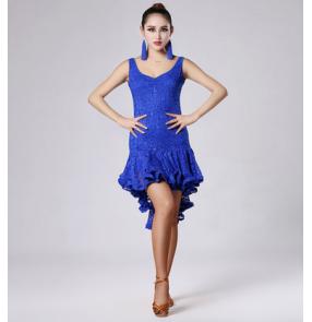 Women's v neck lace sleeveless latin dance dress royal blue black