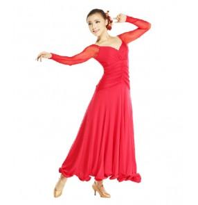 Women's v neck long mesh sleeves ballroom dancing dress full skirt turquoise