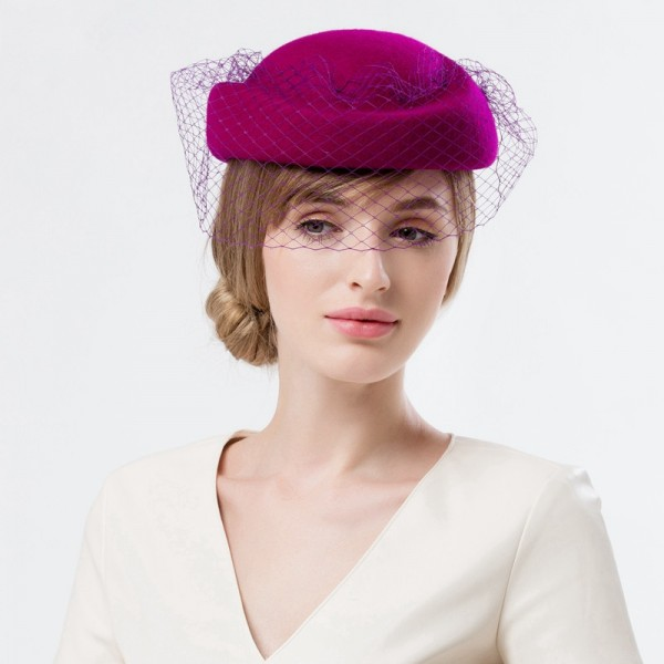 e78dbf47527 Women s veil wedding party fedoras fashionable pillbox hats coral ...