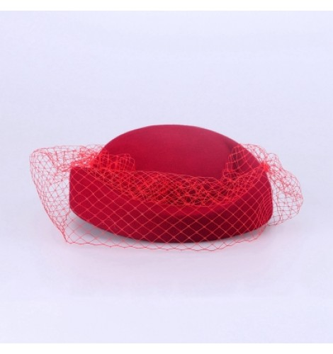 Women s veil wedding party fedoras fashionable pillbox hats coral fuchsia  pink red 10d388e8cdf