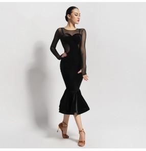 Women's velvet black long sleeves latin dance dresses samba dresses