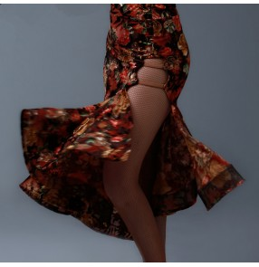 Women's Velvet fashionable sexy floral printed side split latin dance skirt