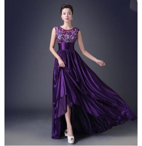 Women's violet appliques pattern A-line double shoulder long length evening dress bridals wedding party dress