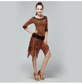 Women's white and black orange and black ladies latin dance dresses sets tops and skirts
