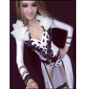 Women's white cloak and bodysuit jazz dance costume set  dj ds dance clothing