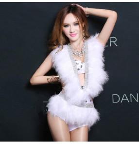 Women's  white feather singer jazz ds dance costume  bra and bodysuit