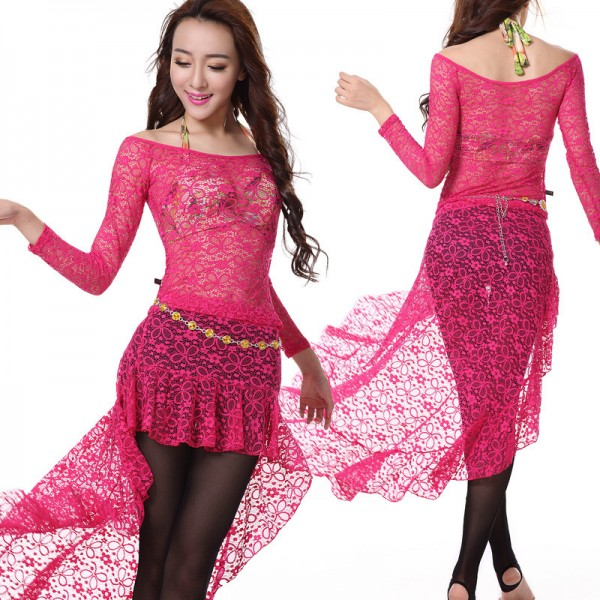 440d7229bef5 Women's wine red fuchsia belly dance costume dress set lace top and ...