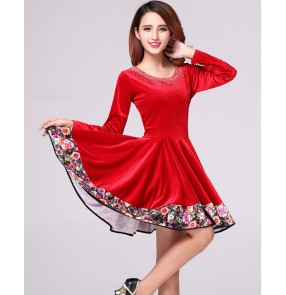 Women's wine red paillette patchwork latin dance dress long sleeves