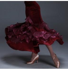 Women's wine red velvet patchwork full skirt standard waltz ballroom dance skirt