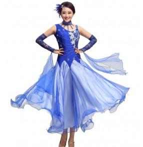 Women's with  rhinestone decoration cuff sleeves long length waltz dance dress modern ballroom dresses