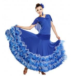 Women v neck ruffle hem skirt modern ballroom dancing set royal blue red black