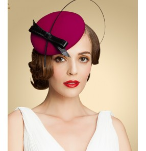 Womens Lady Vintage Fascinator 100% Wool Hair Pillbox Hat Bowknot Veil Felt Cocktail Party Wedding
