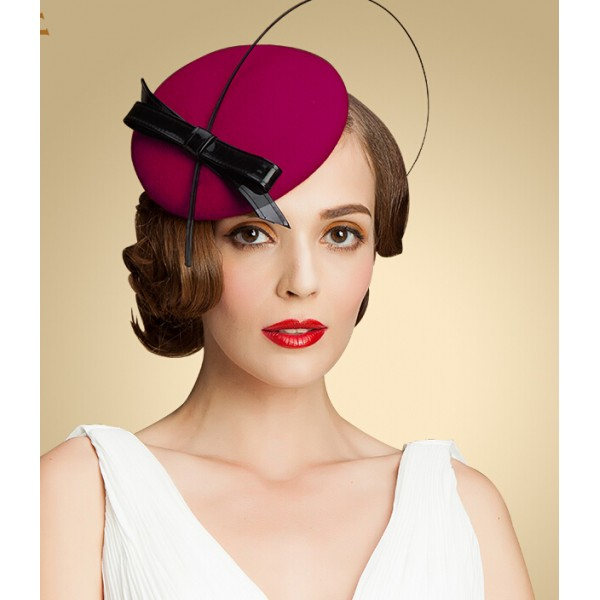 43b7e776192d4 Womens Lady Vintage Fascinator 100% Wool Hair Pillbox Hat Bowknot Veil Felt  Cocktail Party Wedding