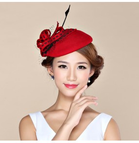Womens Lady Vintage Fascinator 100% Wool Hair Pillbox Hat Bowknot Veil Felt Cocktail Party Wedding Socialite
