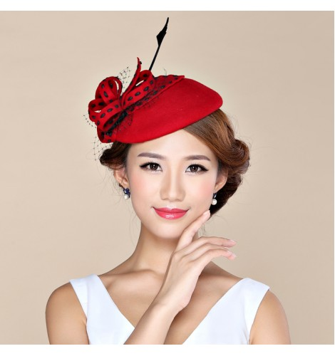 58af4c721b81d Womens Lady Vintage Fascinator 100% Wool Hair Pillbox Hat Bowknot Veil Felt  Cocktail Party Wedding Socialite