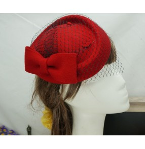 Womens Lady Vintage Fascinator Wool Hair Pillbox Hat Bowknot Veil Felt Cocktail Party Wedding Socialite