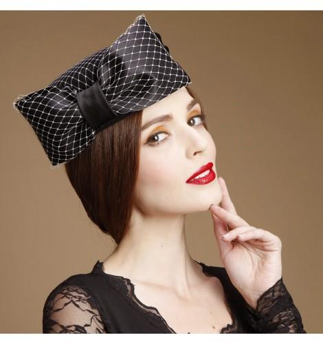 793f4dbf0e3 Womens Lady Vintage Fascinators Wool Hair Pillbox Hat Bowknot Veil ...