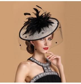 Womens Lady Vintage sinamay Fascinator linen Hair Pillbox Hat Bowknot Veil Felt Cocktail Party Wedding Socialit