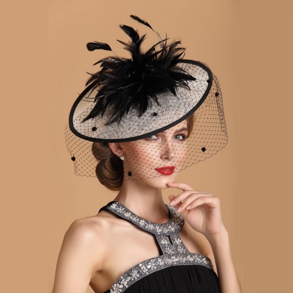 cb2f9bb77e333 Womens Lady Vintage sinamay Fascinator linen Hair Pillbox Hat Bowknot Veil  Felt Cocktail Party Wedding Socialit