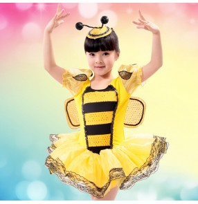 Yellow bees with wings colored girls child children kids toddlers kindergarten short sleeves modern dance stage performance jazz dj cos play  dresses costumes