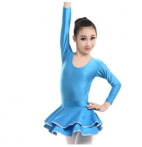 Yellow fuchsia black turquoise colored Girls kids child children baby long sleeves ruffles skirts competition exercises practice leotard latin ballrooms salsa dance dresses