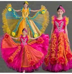 Yellow fuchsia hot pink sleeveless flower  women's ladies female big opening dancing chorus solo full skirted spanish bull dance folk  flamenco ballroom  stage performance dance dresses outfits