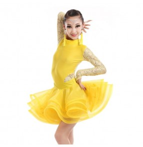 Yellow fuchsia hot pink white lace sleeves back patchwork girls kids children competition performance ballroom latin dance dresses outfits
