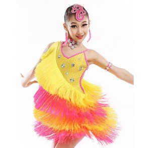 Yellow fuchsia patchwork colored orange colored  blue fringe backless competition kindergarten growth girls kids child children baby toddlers rhinestones latin salsa cha cha dance dresses costumes