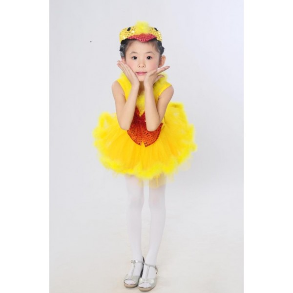 Yellow Gold Colored Feather Paillette Kids Child Children