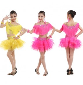Yellow gold fuchsia colored girls kids child children competition professional sleeveless tassels split set rhinestones latin dance dresses