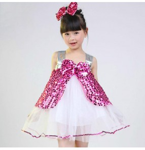 Yellow gold fuchsia hot pink sequined paillette sleeveless princess girls kids child children toddlers baby growth modern dance stage performance jazz dj ds dance costumes dresses