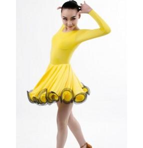 Yellow gold long sleeves swing skirted girls kids child children baby toddlers growth latin salsa cha cha rumba samba dance dresses