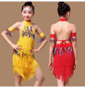 Yellow gold red royal blue fuchsia hot pink fringes tassels paillette girls kids child children toddlers backless competition practice latin salsa cha cha dance dresses split set