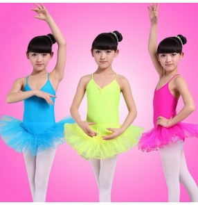 Yellow green turquoise white fuchsia hot pink sleeveless girls kids child children competition practice professional gymnastics ballet tutu skirt dance leotard dresses
