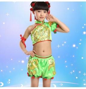 Yellow neon green red printed girls toddlers kindergarten boys child child children baby chinese folk dance modern stage performance jazz dj singer cosplay dance costumes sets