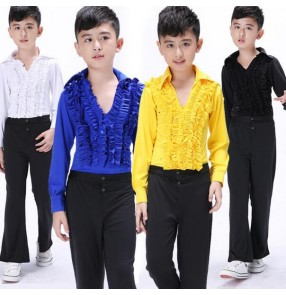 Yellow royal blue white black boys child children kids toddlers v neck long sleeves practice gymnastics competition professional latin salas cha cha ballroom waltz tango dance sets top and pants