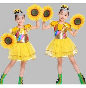Yellow sun flowers girls kids child children toddlers growth stage performance cos-play modern dance jazz dance dj singer dance costumes dresses clothes