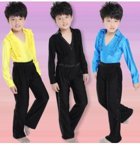 Yellow turquoise blue black boys kids child children toddlers gymnastics practice v neck rhinestones latin ballroom waltz tango dance costumes long sleeves tops and pants