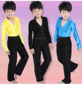 Yellow turquoise blue black boys kids child children toddlers gymnastics practice v neck rhinestones latin ballroom waltz tango dance costumes long sleeves tops and pants