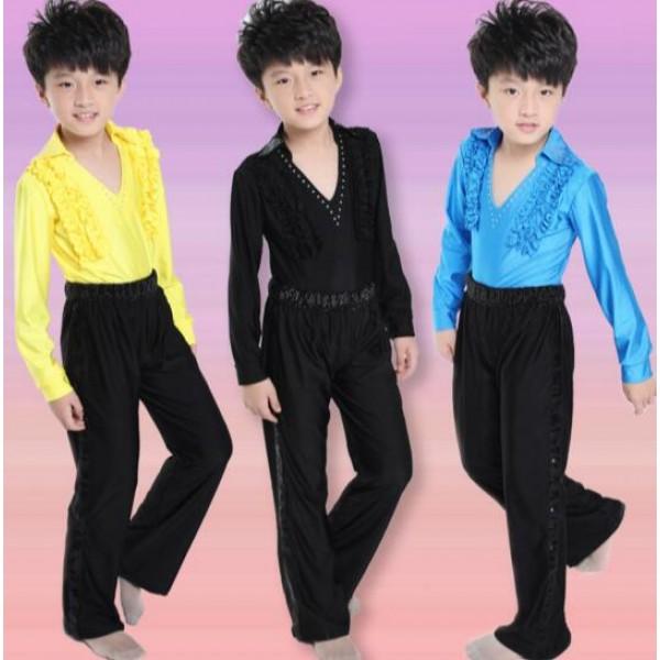 0b082dd2bfa71 Yellow turquoise blue black boys kids child children toddlers gymnastics  practice v neck rhinestones latin ballroom waltz tango dance costumes long  ...