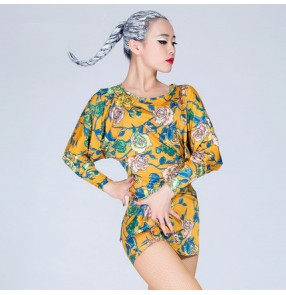 Yellow vintage floral printed black loose style fashion women's ladies female long sleeves competition performance latin samba dance tops dresses