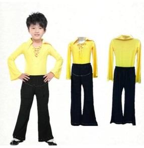 Yellow white black red v neck rhinestones long sleeves turn down collar boys kids child children toddlers growth latin sala cha cha dance split set tops and pants