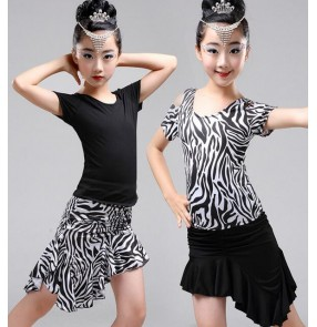 Zebra and black patchwork one shoulder short sleeves irregular ruffles hem skirt girls kids children baby stage performance school play gymnastics latin samba salsa dance dresses split sets outfits