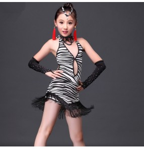 Zebra leopard printed girls kids child children toddlers  rhinestones competition fringe practice latin salsa cha cha dance dresses with gloves