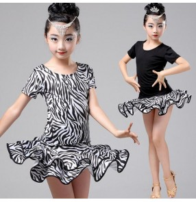Zebra white and black printed black patchwork short sleeves split set girls kids children school play performance latin salsa cha cha dance dresses sets outfits