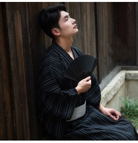 Japanese men's kimono samurai robe Traditional men's kimono Drama coplay photos shooting kimono Japanese style yukata robe cotton
